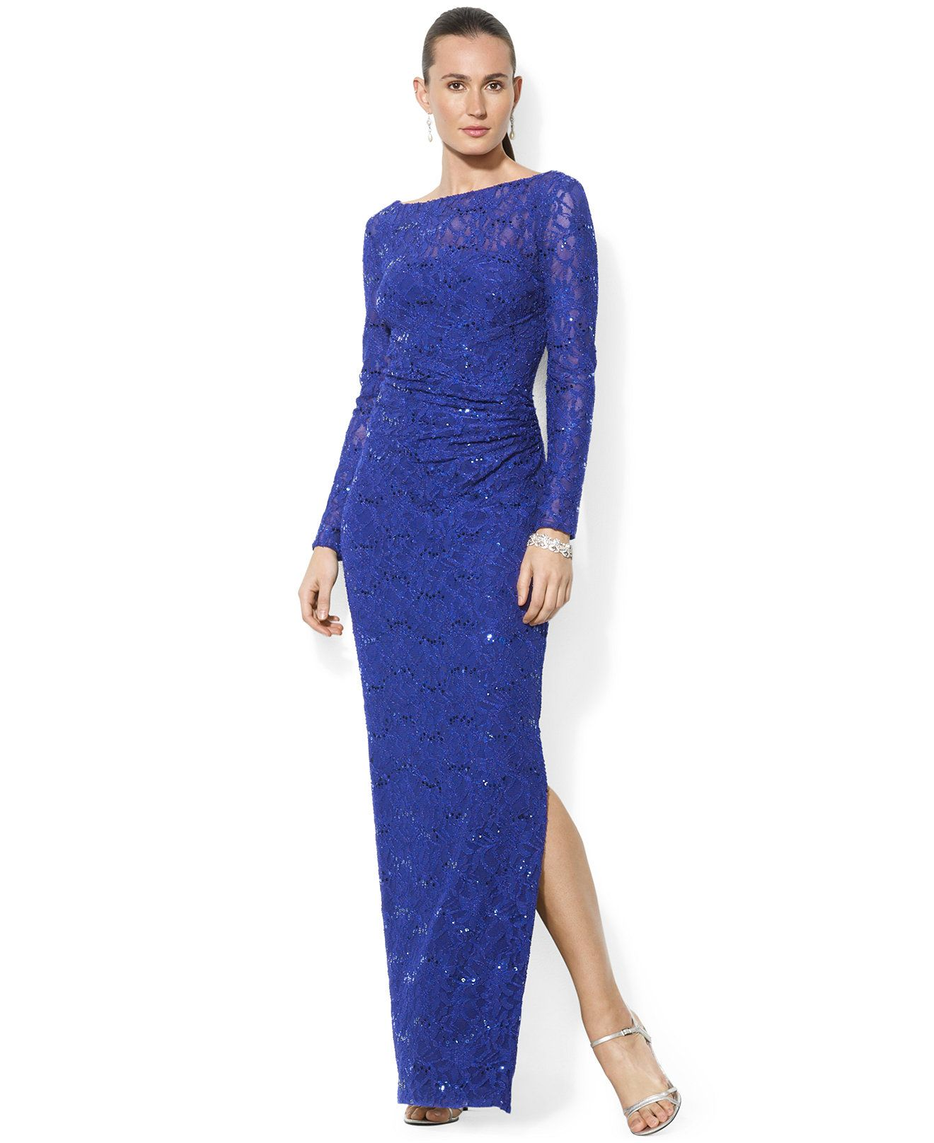 Lauren Ralph Lauren Sequined Lace Gown - Dresses - Women - Macy\'s ...