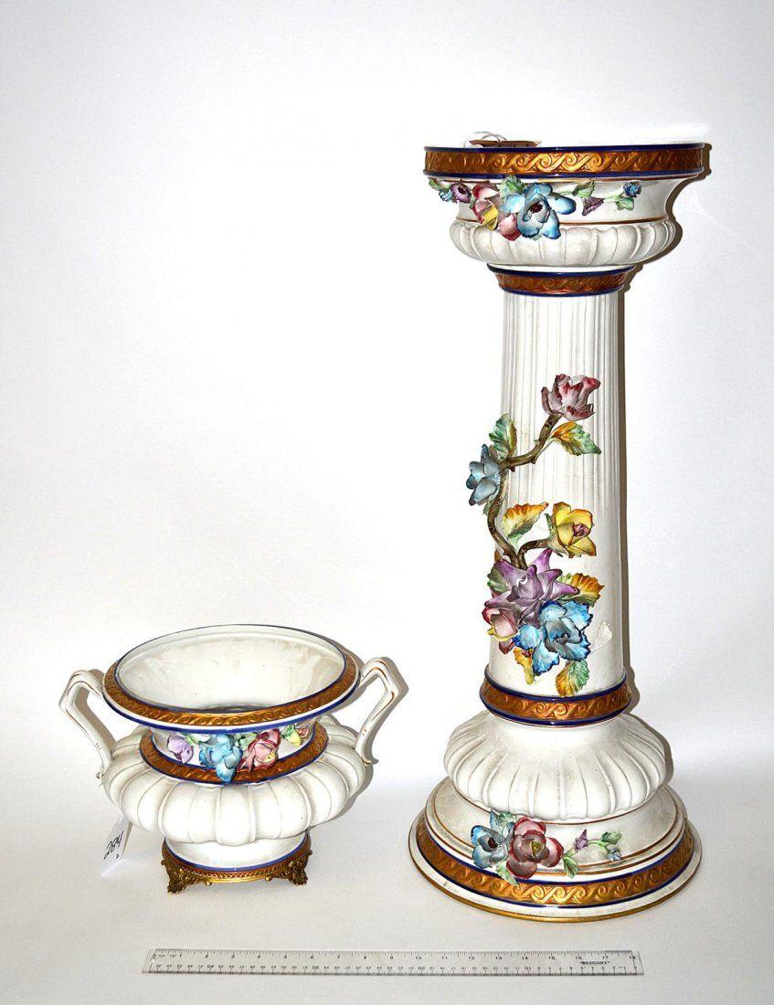 Antique capodimonte porcelain jardiniere with pedestal stand antique capodimonte porcelain jardiniere with pedestal stand reviewsmspy