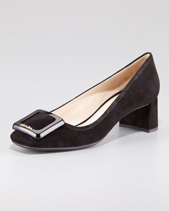 a0fc296bd450 Suede Square-Toe Block-Heel Pump by Prada at Neiman Marcus.