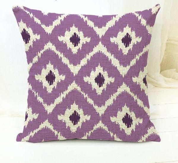 The Ikat Story Mauve And Green Purple Throw Pillows
