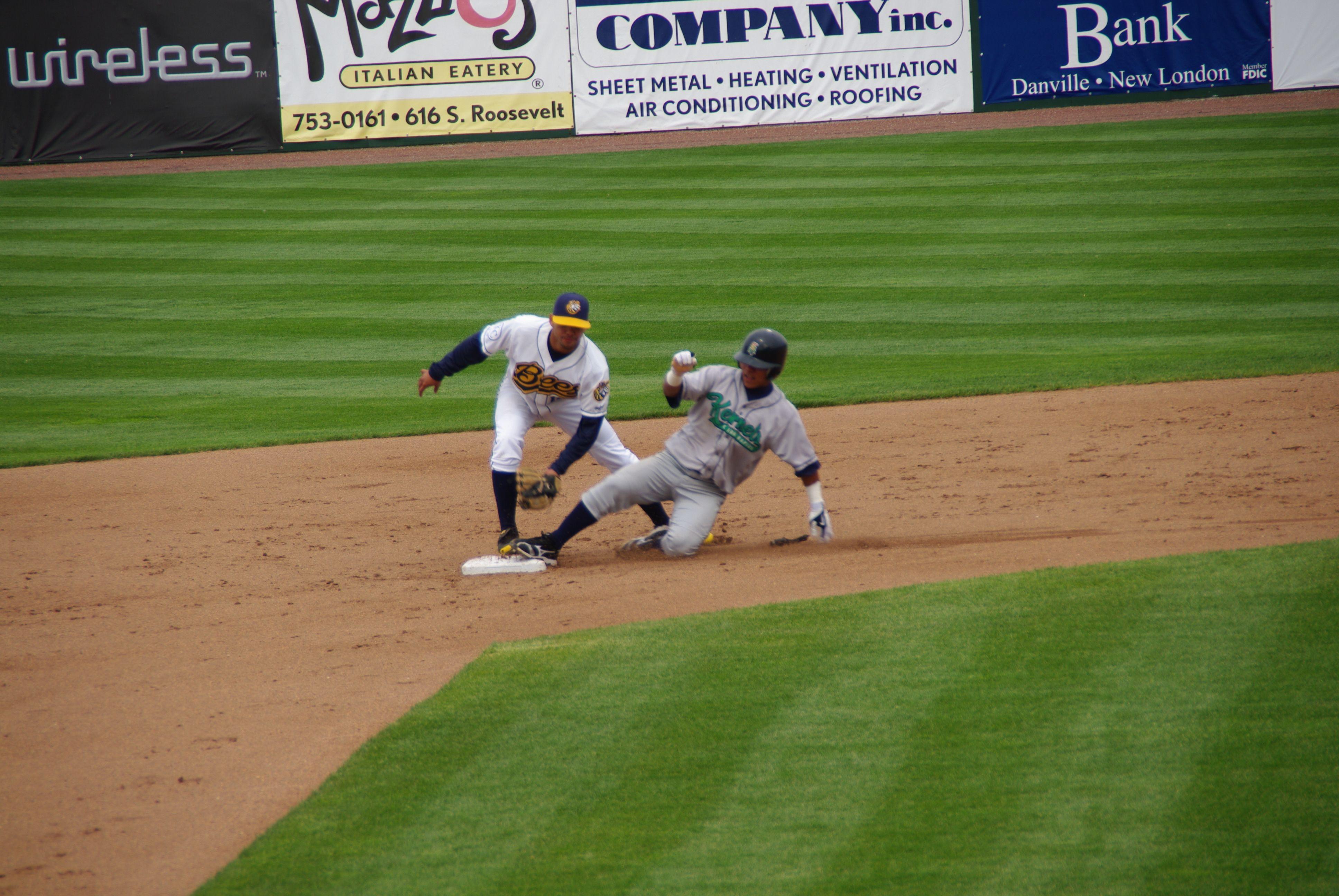 All Ages Of Baseball Fans Will Love Watching The Minor League Team The Burlington Bees Baseball Baseball Fan Baseball Field