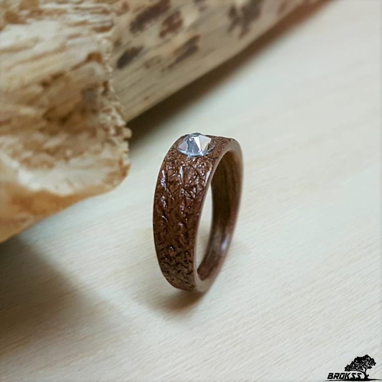 Wooden Ring Mahogany With Swarovski Crystal Handmade Hand