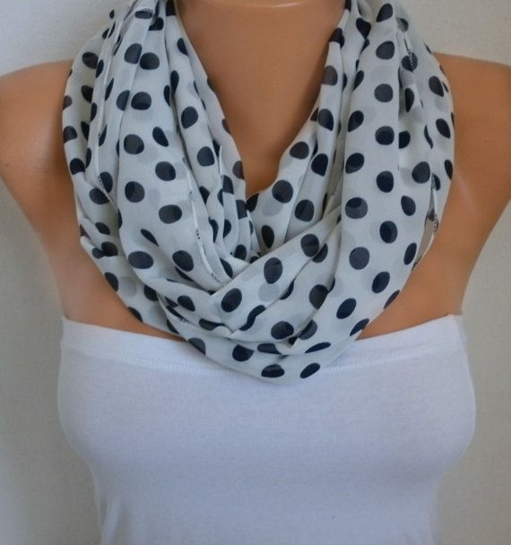 Spring White & Black Polka Dot Infinity Scarf Mother\'s by fatwoman ...