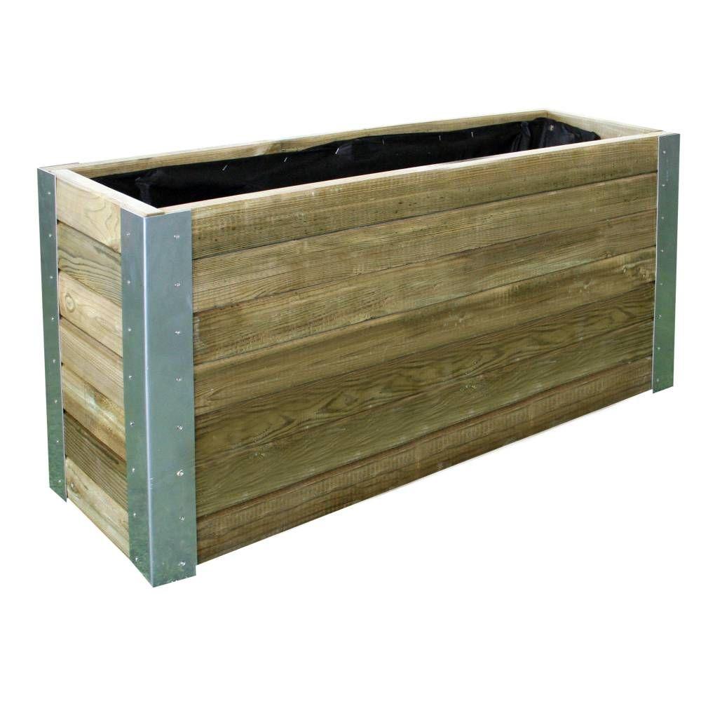 Bac Bambou En Bois Et Corniere Metal L 100 X 30 X H 50 Cm Jardiniere En Bois Bambou Bambou En Pot