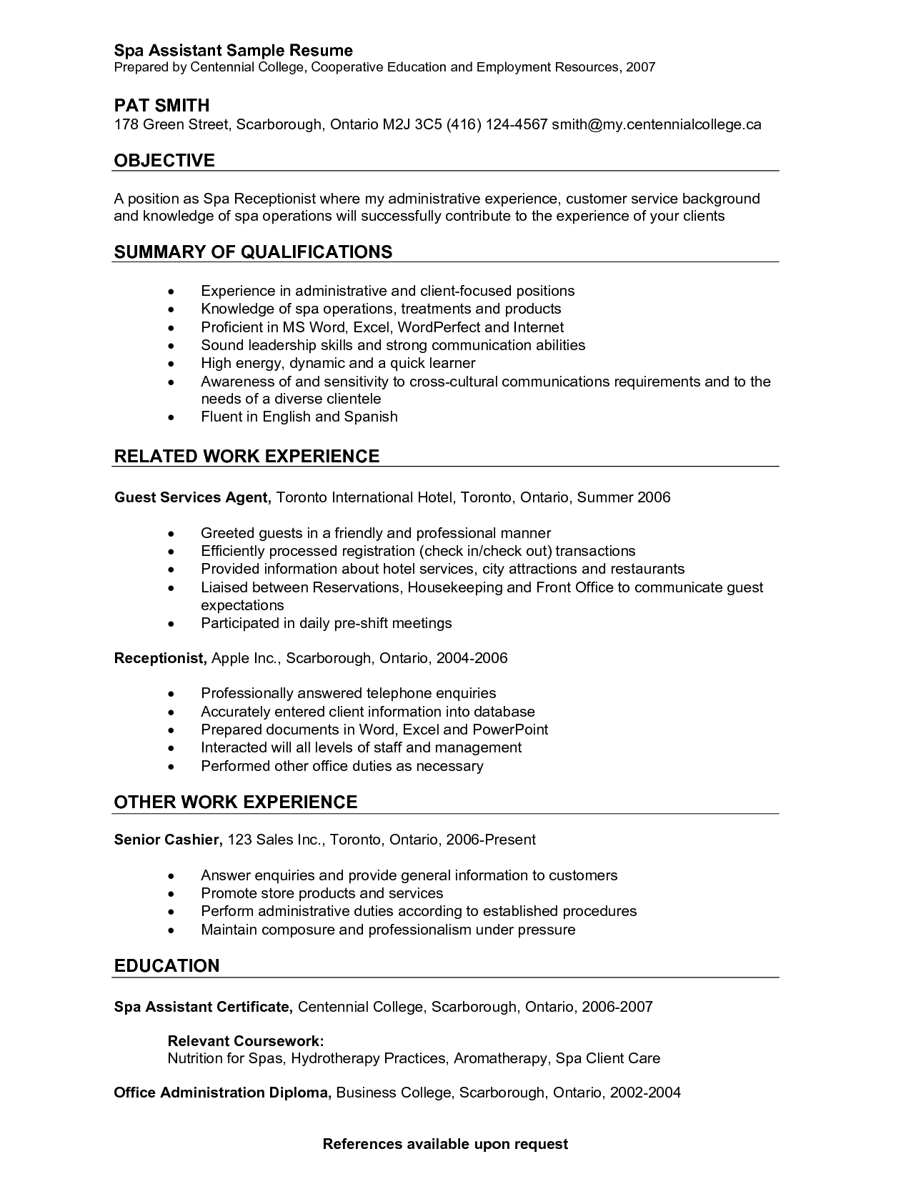 Resume For Concierge Personal Assistant Sample Best Spa Job