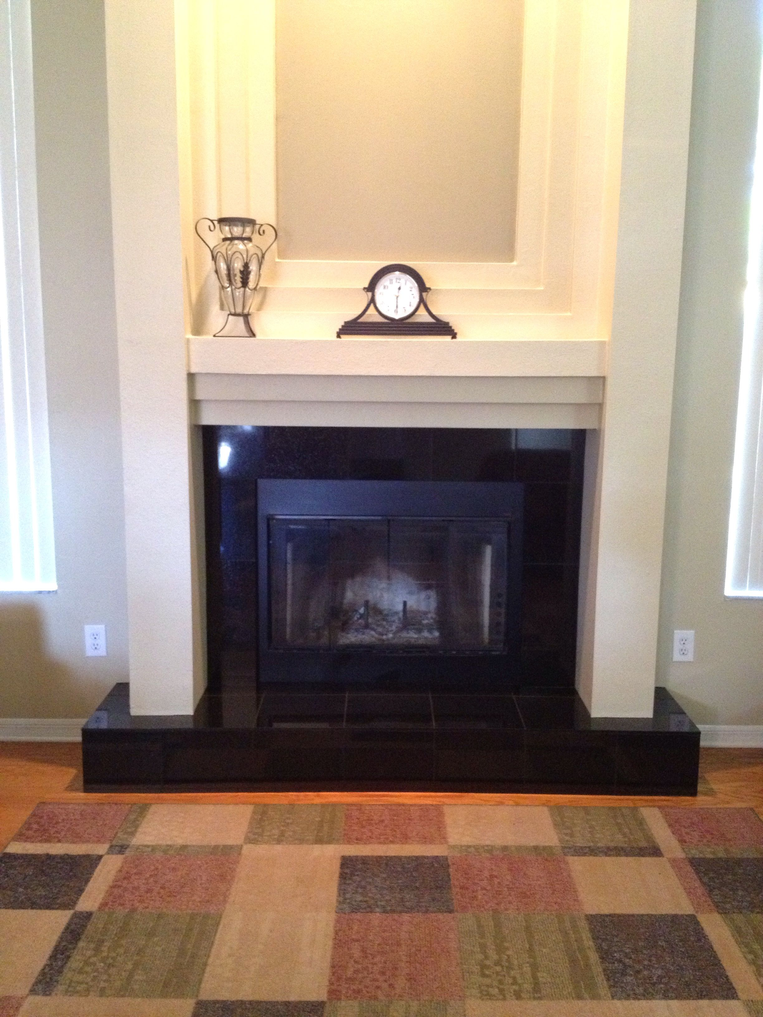 Tampa Florida Westchase 12x12 Absolute Black Granite Fireplace Installation Granite Fireplace Fireplace Update Florida Home