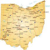 Rivers In Ohio Map.Vector Illustration Of Map Of Ohio With Major Roads Rivers And