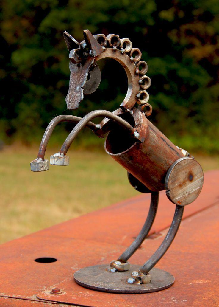 How To Make Metal Garden Art Part - 34: Metal Yard Art Garden Sculpture Of A Rearing Horse. Made From Scrap Metal.