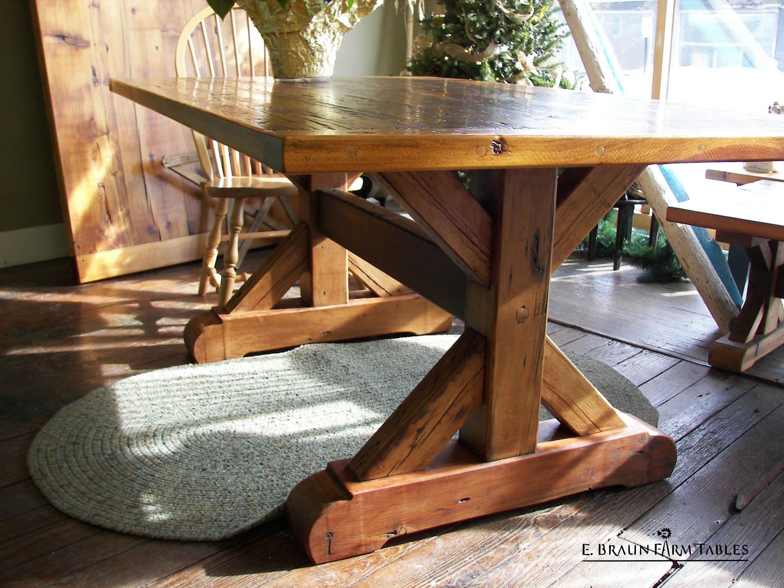 detail of reclaimed barn wood crossbuck trestle table base E