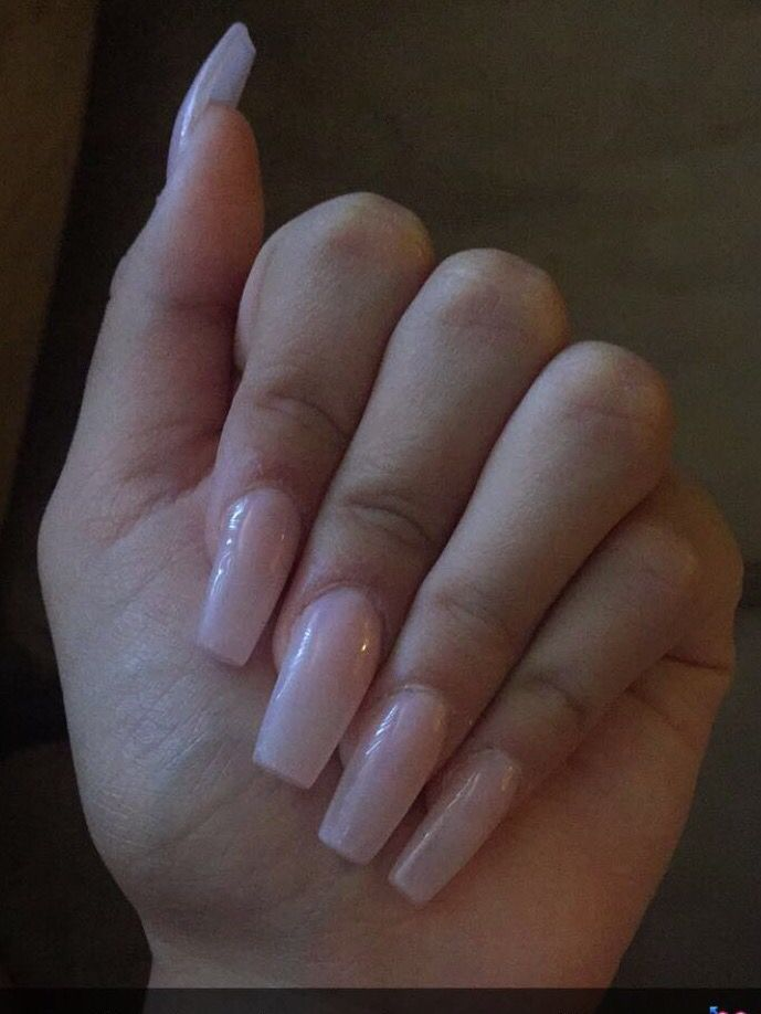 Coffin or ballerina acrylic nails. Super light blush soft pink ...
