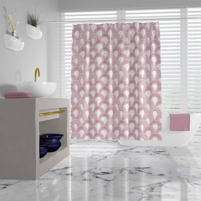 Blush Pink Art Deco Fabric Shower Curtain Boho Fan Pattern