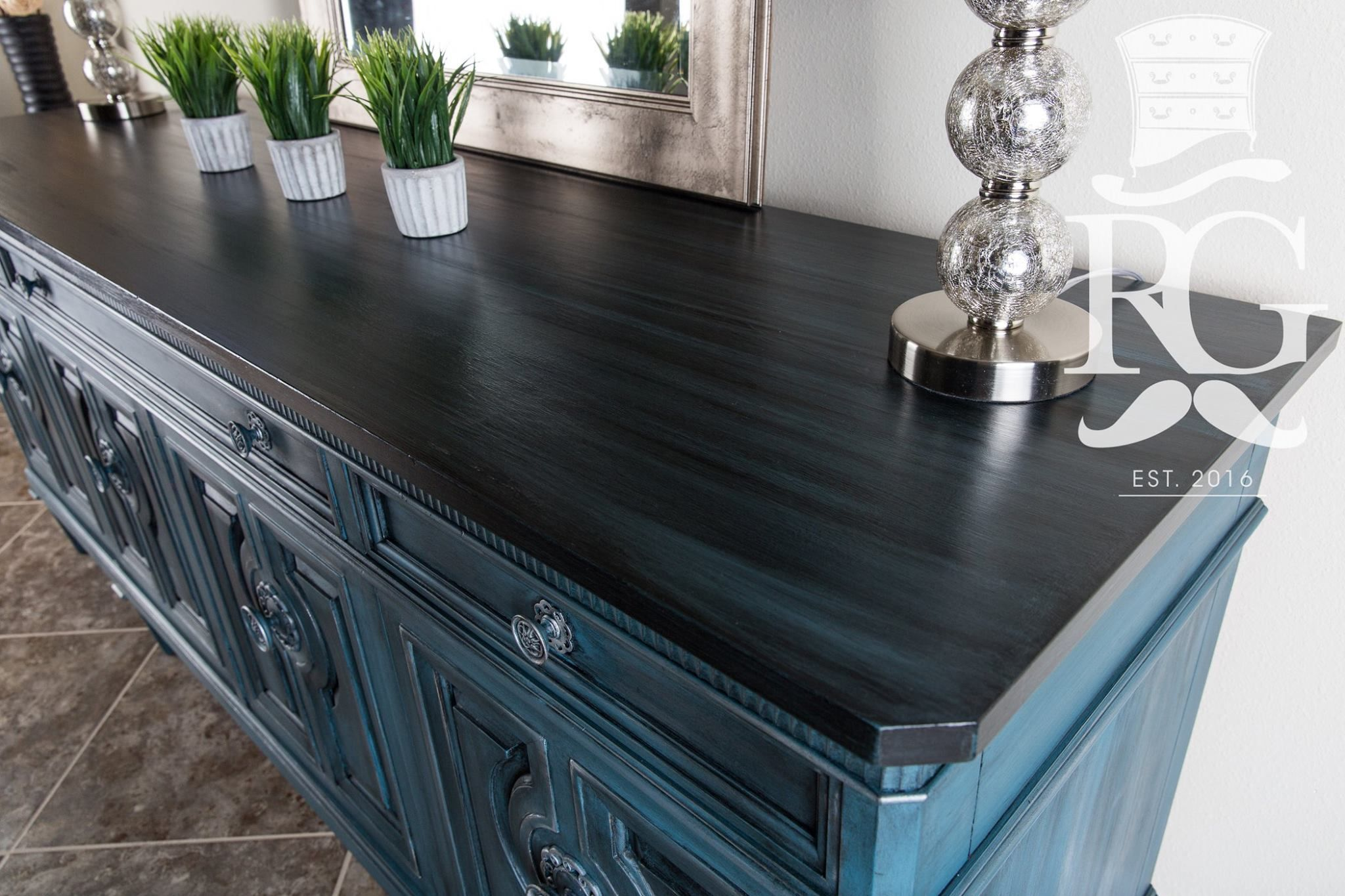 Credenza Buffet Top Painted In Annie Sloan Chalk Paint Aubusson Then Graphite Wash T Black Painted Furniture Diy Furniture Renovation Furniture Renovation