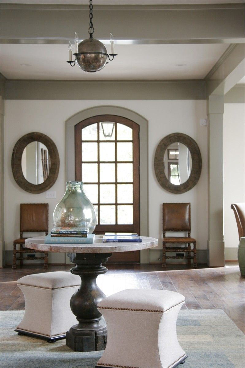 Nice combo of dark stained woodwork benjamin moore for Benjamin moore french white