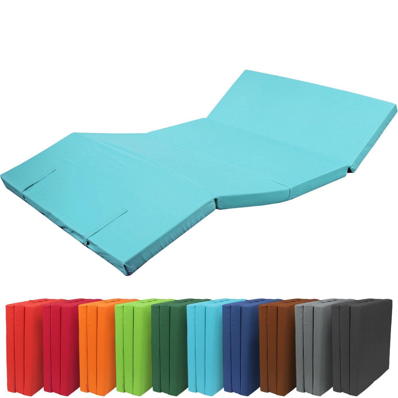 Pouf Matelas Pliant 195 X 120 X 7 Cm Confortable Lit D Invite Avec Housse En Microfibre Turquoise Avec Images Matelas Lit D Invite