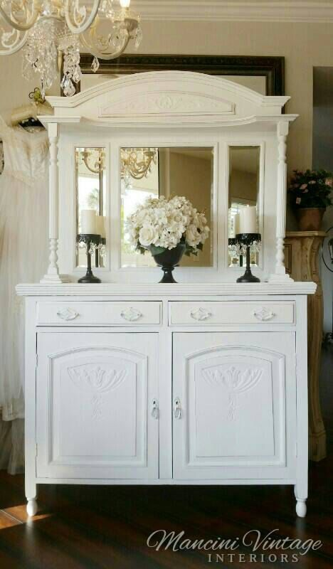 Romantic Early 1900u0027s Antique Buffet Cabinet Mirrored Bar Sideboard Hutch  Linen Cabinet Bathroom Hall Entry Dining Kitchen