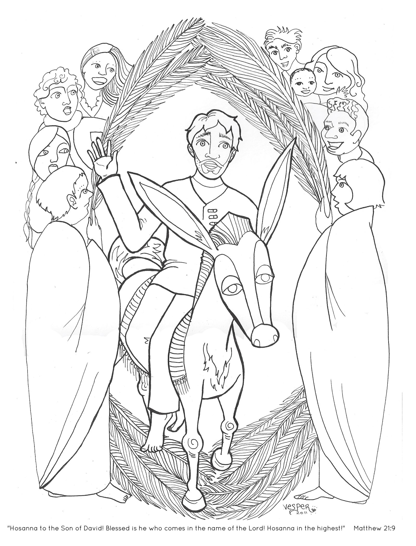 triumphal entry Coloring pages, Palm sunday, Bible art