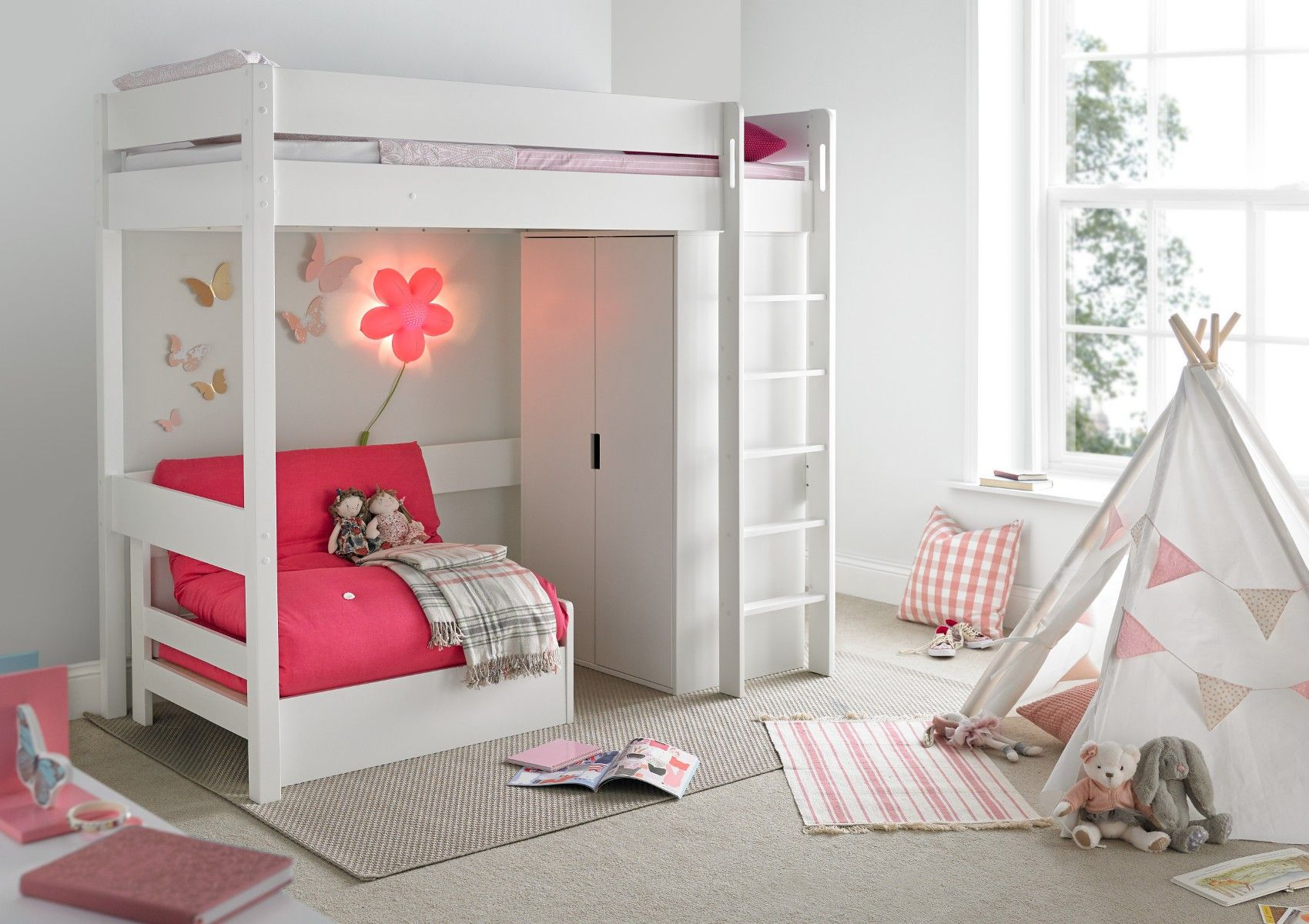 Modena High Sleeper Bed Frame With Compact Wardrobe Pink Chair