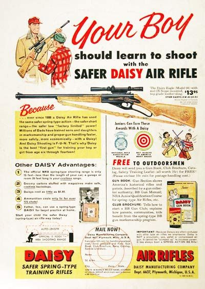 1957 Daisy Air Rifle original vintage advertisement  Featuring the