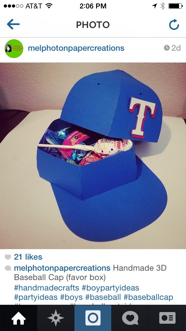 3D Baseball Hat Favor Box Made With Silhouette