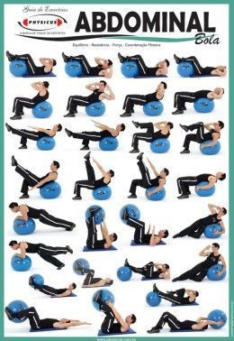 Exercise Charts for Stability Ball (Balance Ball, Swiss Ball) and BOSU