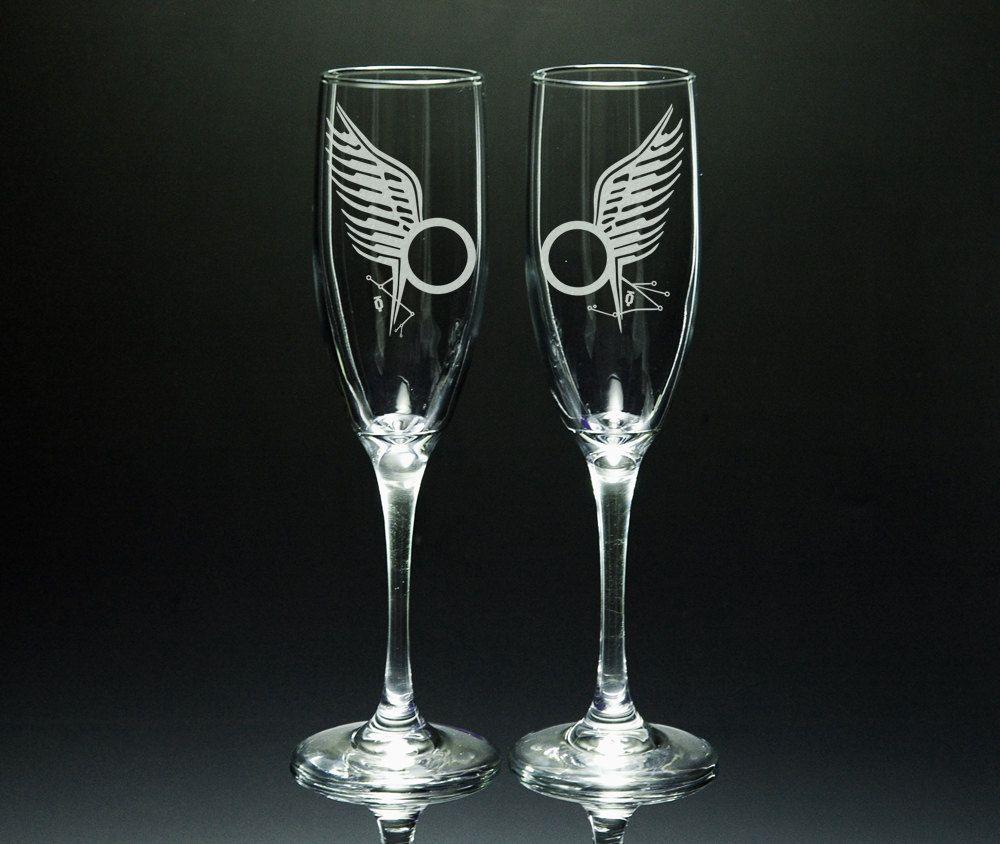 Wedding Flutes Battlestar Galactica Starbuck And Sam Anders Tattoo Etched Glass Flute Set 27 50 Via Etsy Wedding Flutes Nerd Wedding Flute Glass