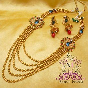 Polki zircon peacock necklace design jewellery online online