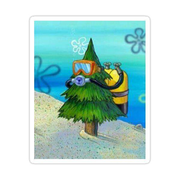 Spongebob Diving Tree Sticker by ImVectress