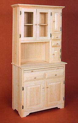 Amish Unfinished Solid Pine Hoosier China Pantry Storage Cabinet Hutch Country