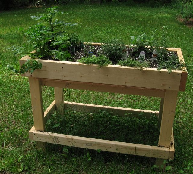 What Are Table Gardens Information For Raised Garden Bed Tables – Herb Garden Table Plans
