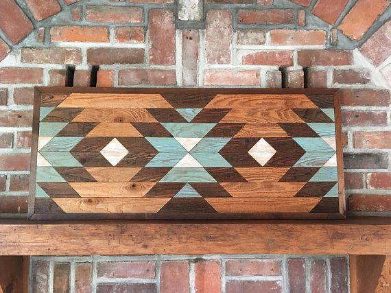Reclaimed wood wall art - Southwestern wood wall decor - Navajo art inspired #reclaimedwoodwallart