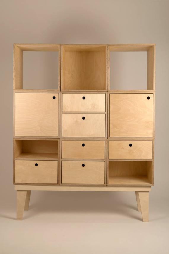 Cube De Rangement Modulaire Contreplaque Avec Porte Etsy Plywood Storage Cube Furniture Cube Storage