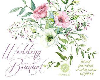 Photo of Rosen Blumen Aquarell Kränze, botanische Kunst, Boho rosa Blumen, Briar Blüte, von Hand bemalt Hochzeit Clipart. Png-Grußkarte digitale