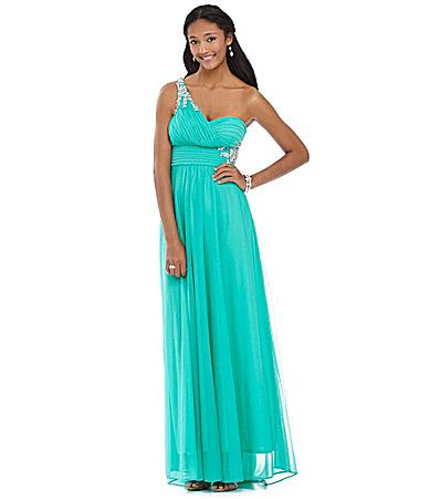 Sequin Hearts Oneshoulder Cutout Beaded Gown Dillards Formal