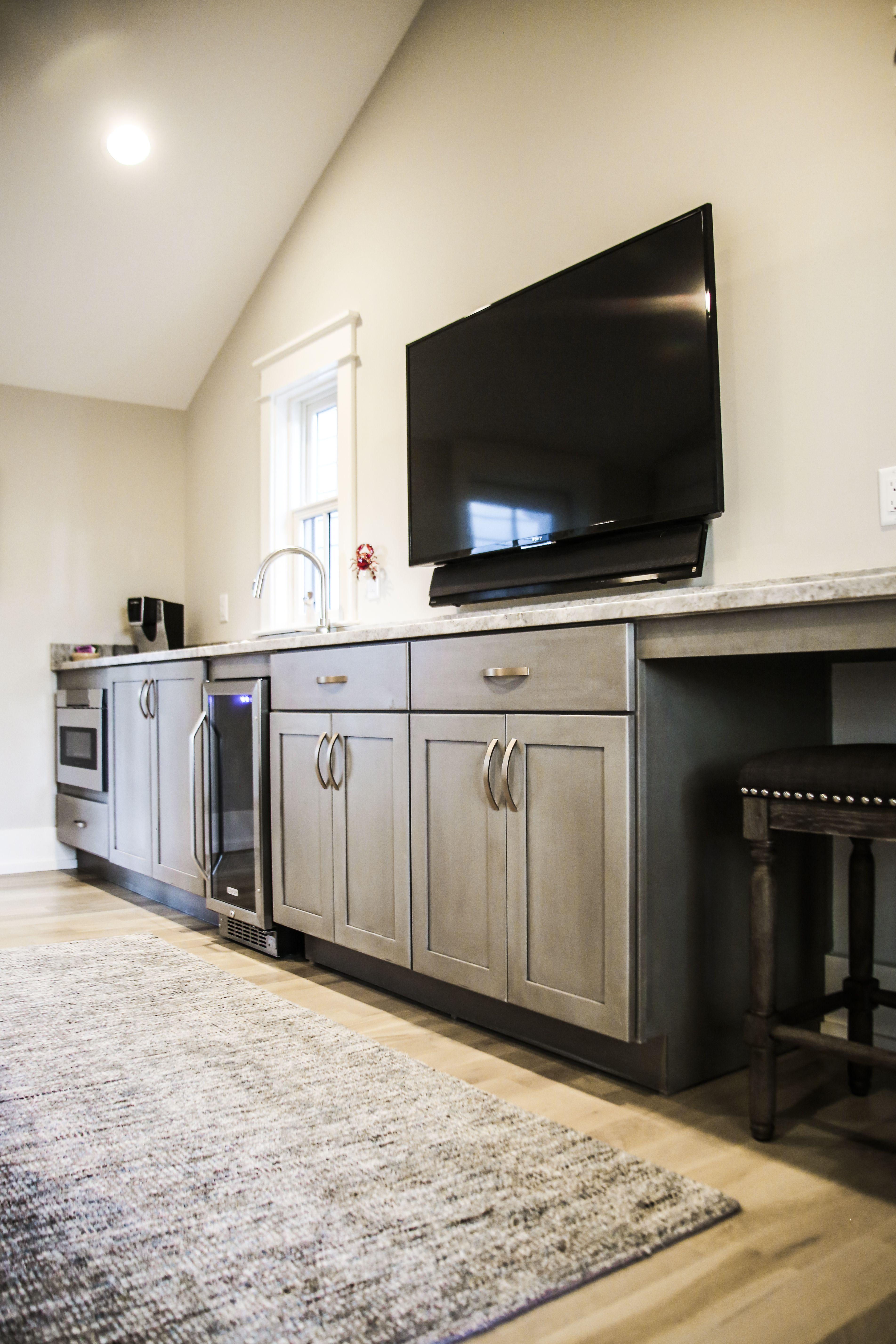 Bonus Room With Bar And Tv Dream Home Kitchen Cabinets Panel Wood Decor Interior De Interior Design Kitchen Kitchen Interior Home Design Living Room