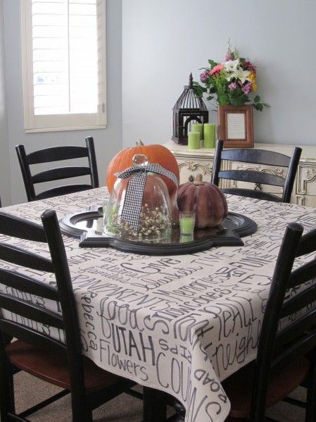 Thankful Tablecloth   Plastic Dropcloth Is Transformed Into Beautiful Thanksgiving  Tablecloth   Just Add Sharpie And