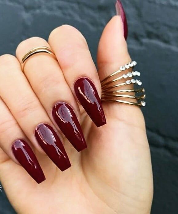 Nice Deep Red With The Coffin Shape Burgundy Acrylic Nails Burgundy Nails Red Nails