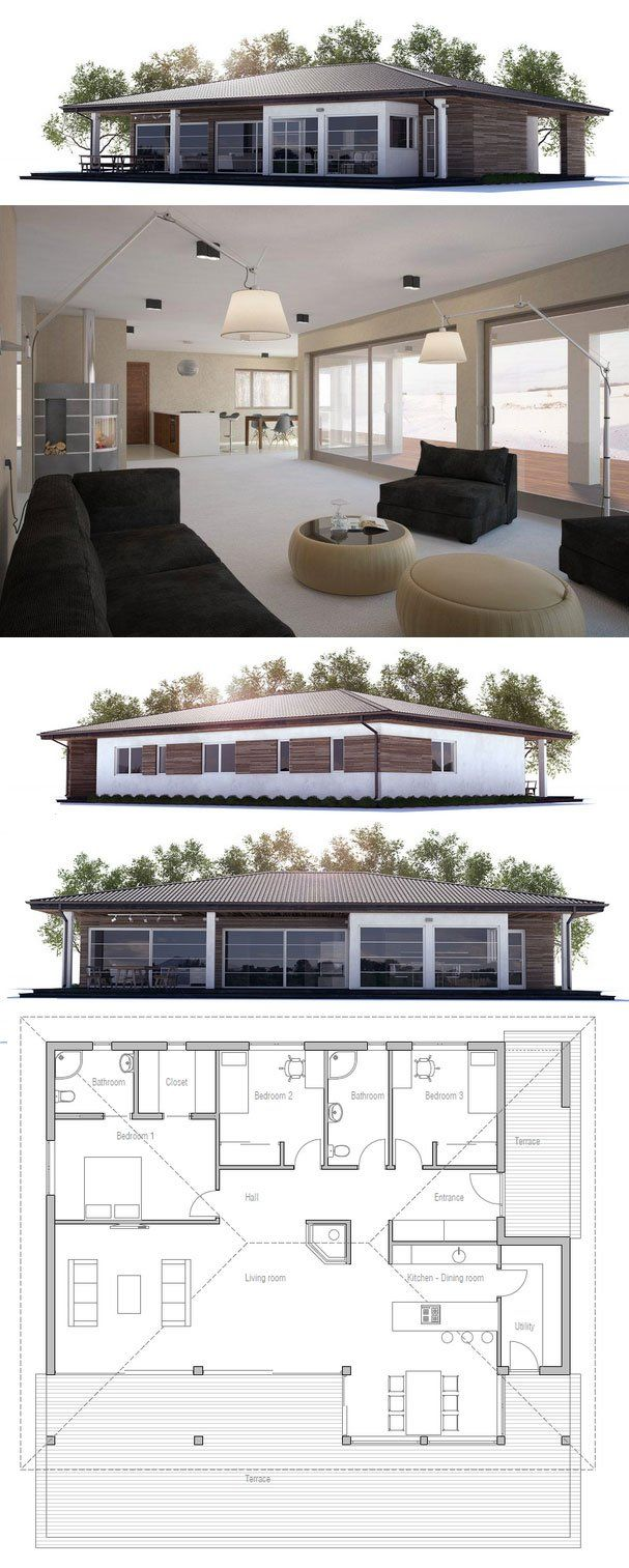 simple affordable small house plan with open plan and three bedrooms tiny house ideas. Black Bedroom Furniture Sets. Home Design Ideas