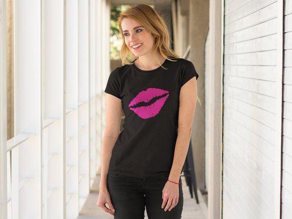 Pink Lips Tshirt, Womens Fashion T-shirt, Cute Shirt, Gift For Friends, Kiss Tshirt, Women Trendy Tee, Womens Tops, Gift For Girlfriend 2