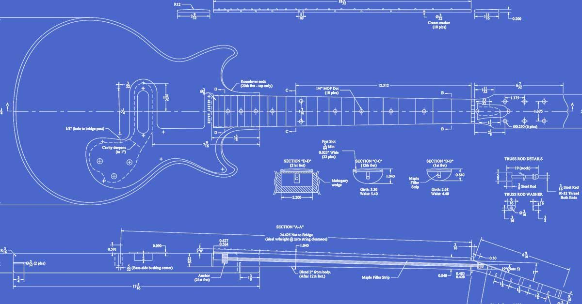 Gibson Melody Maker Guitar Templates