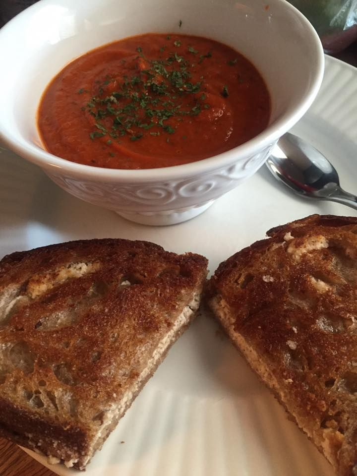 Grilled Brazil Nut Cheese Tomato Soup Spelt Bread Whole