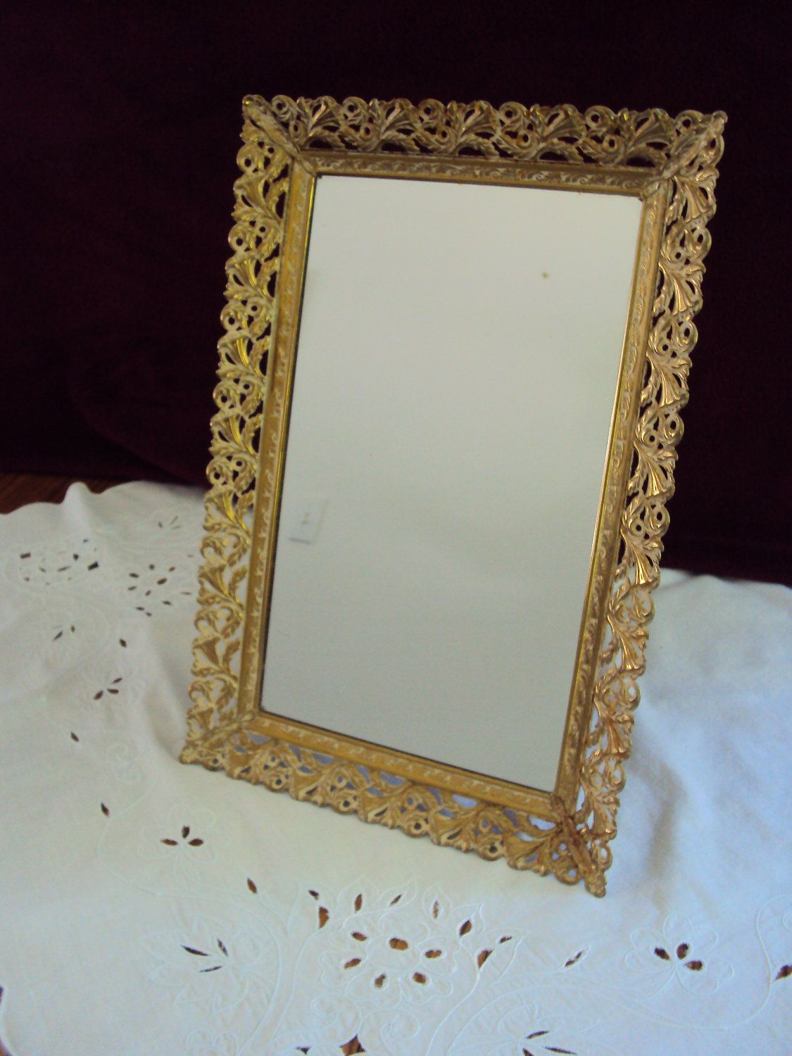 Vintage Rectangular Brass Metal Vanity Mirror Tray or