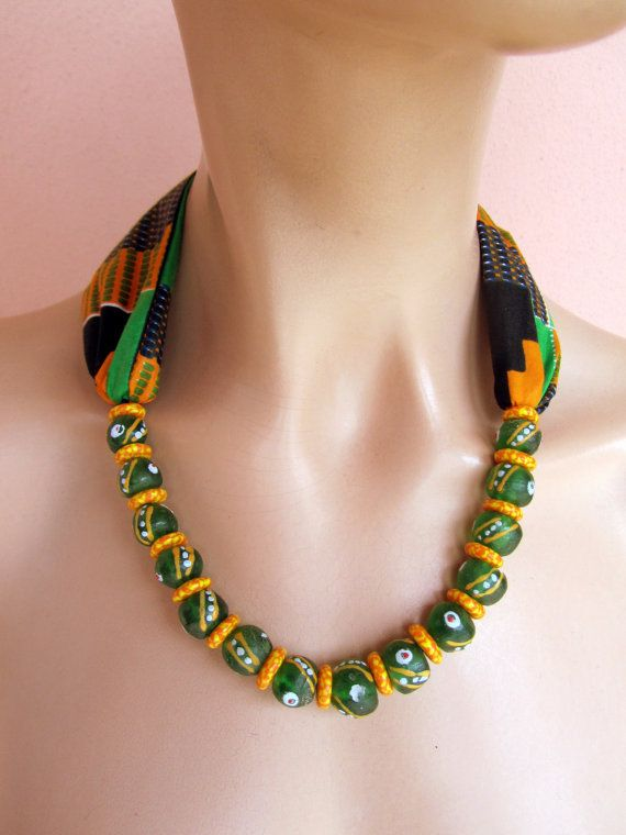 Orange and Green necklace  African Scarf Necklace by nad205