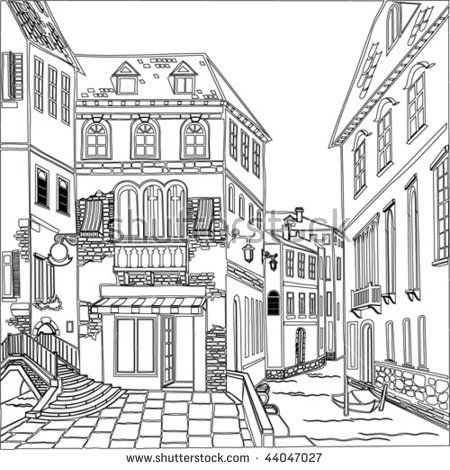 Old Town Vector Image House Colouring Pages Perspective Drawing Architecture Coloring Books