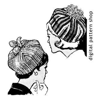 Vintage 1960s Pillbox Hat Crochet Pattern Instant Download PDF Pattern