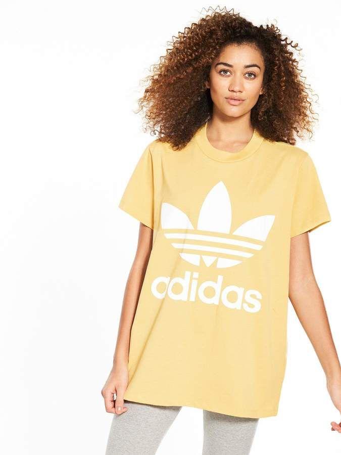 053a3581 adidas Originals adicolor Big Trefoil Tee - Sand | Adidas | Adidas ...
