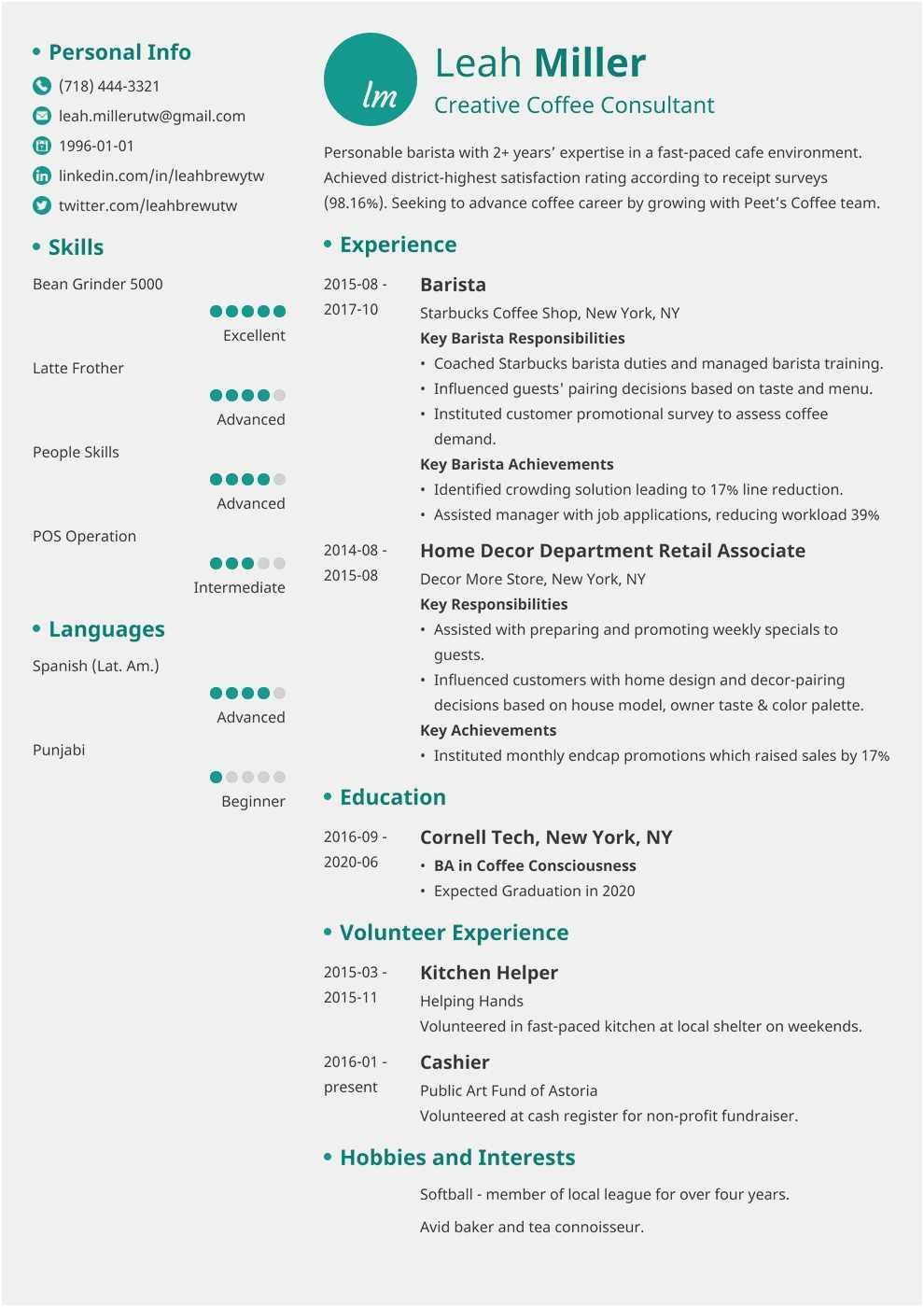 Starbucks Barista Job Description for Resume Best Of