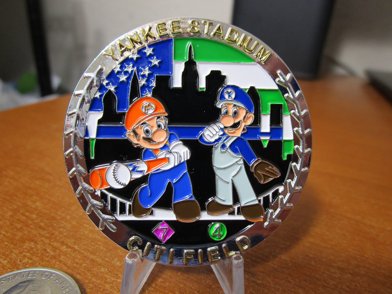 Nypd Yankee Stadium Citi Field Mario Luigi Subway Series Etsy In 2020 Subway Series Mario And Luigi Challenge Coins