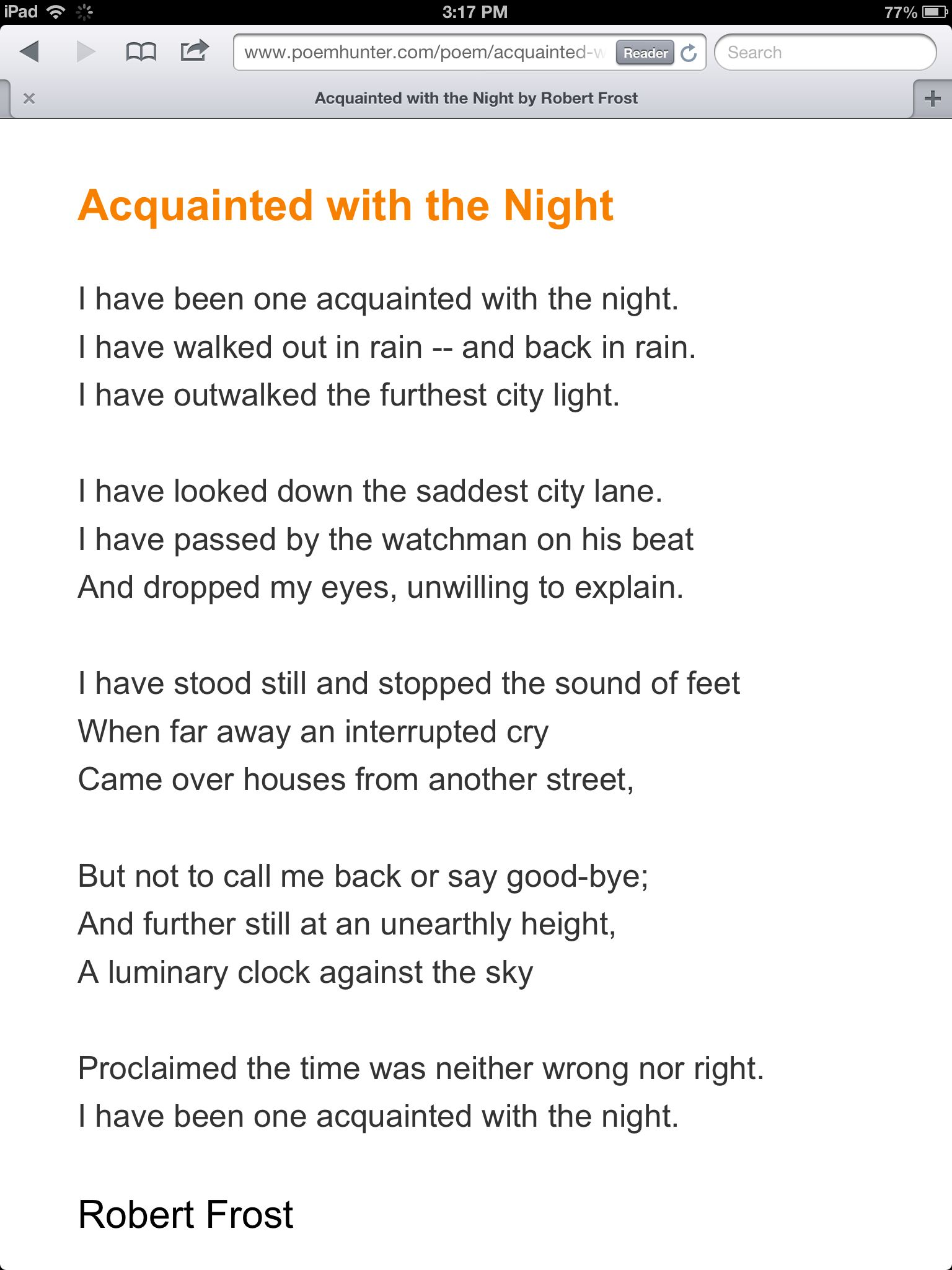 poem acquainted with the night