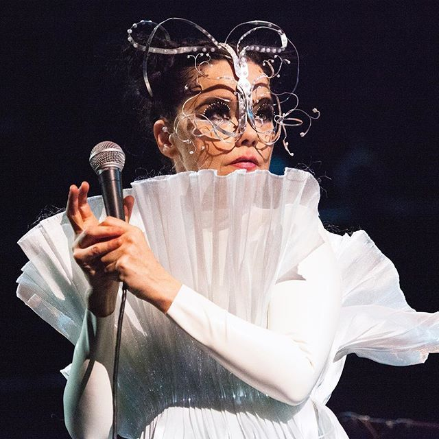 new headpiece i made for @bjork tonight at albert hall  dress by @hilduryeoman / makeup by @andrewgallimakeup / photo by @santiagraphy