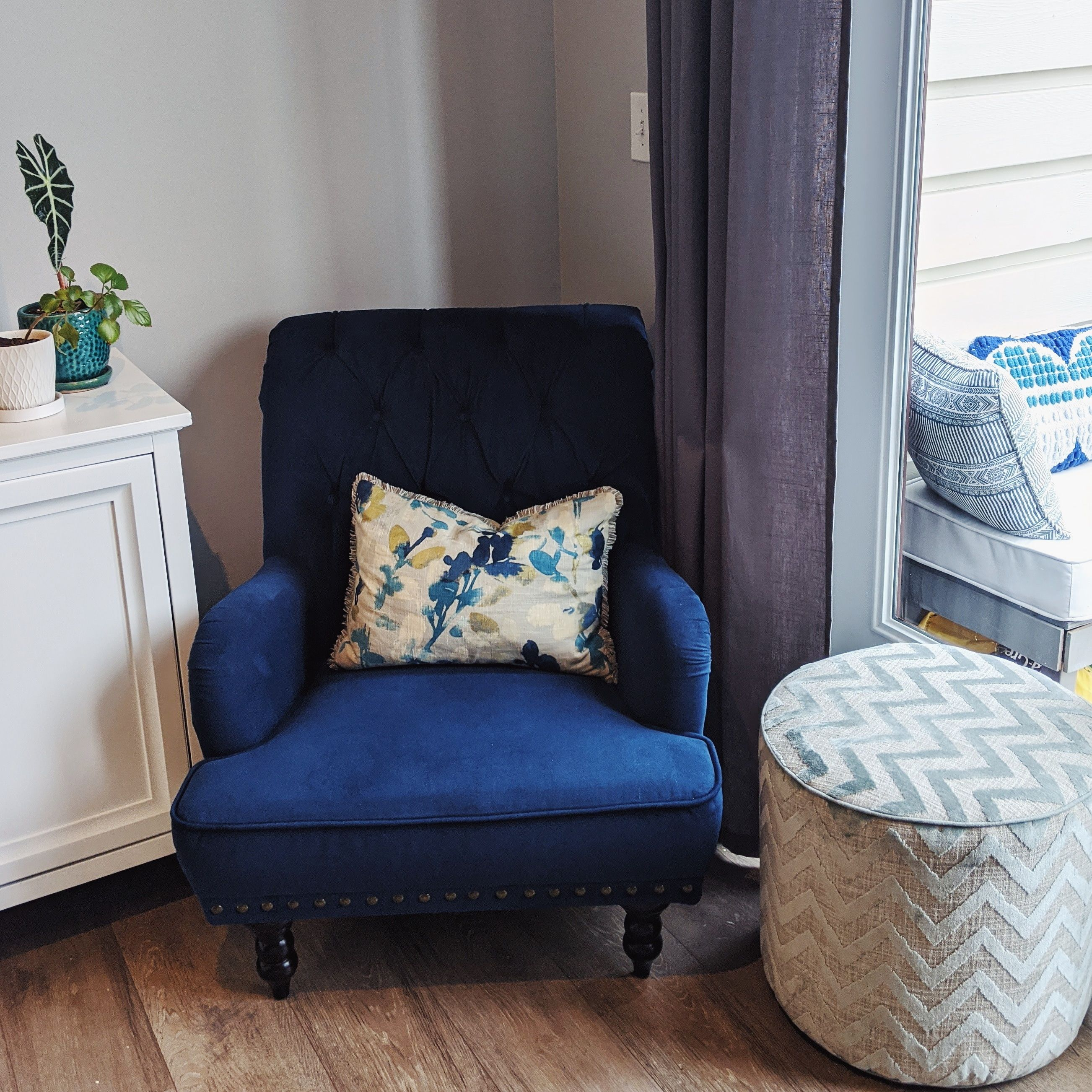 blue velvet chair and custom upholstered ottoman. mix and